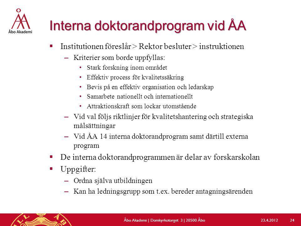 Interna doktorandprogram vid ÅA  Institutionen föreslår > Rektor besluter > instruktionen –Kriterier som borde uppfyllas: Stark forskning inom område