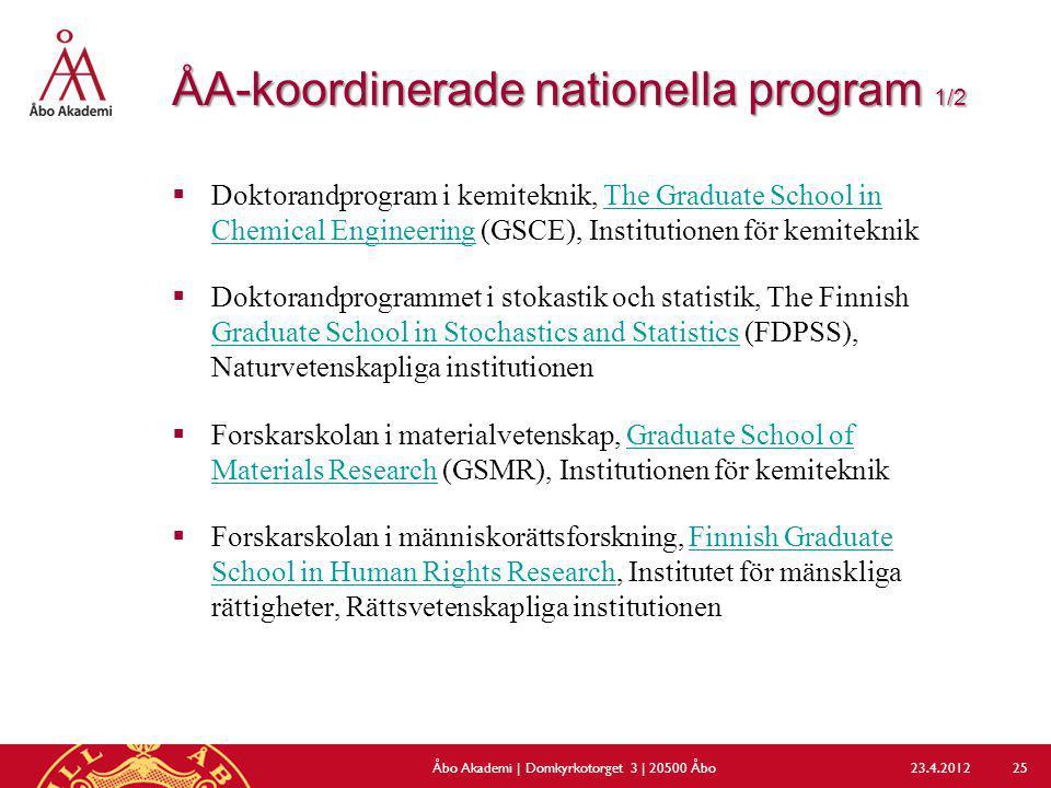 ÅA-koordinerade nationella program 1/2  Doktorandprogram i kemiteknik, The Graduate School in Chemical Engineering (GSCE), Institutionen för kemitekn