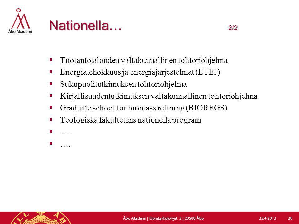 Nationella… 2/2  Tuotantotalouden valtakunnallinen tohtoriohjelma  Energiatehokkuus ja energiajärjestelmät (ETEJ)  Sukupuolitutkimuksen tohtoriohje