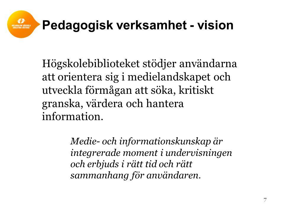 Pedagogisk verksamhet - vision Högskolebiblioteket stödjer användarna att orientera sig i medielandskapet och utveckla förmågan att söka, kritiskt granska, värdera och hantera information.