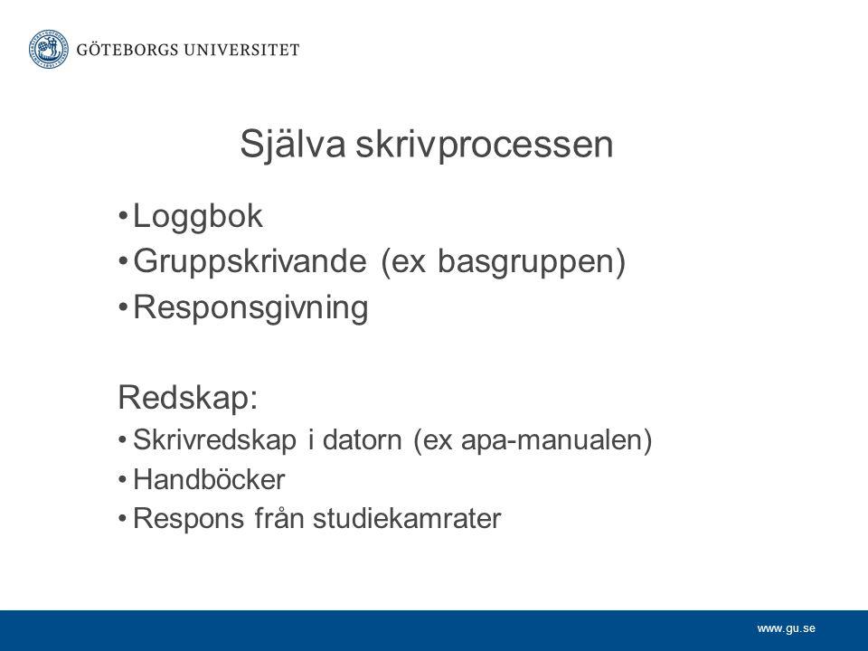 www.gu.se Själva skrivprocessen Loggbok Gruppskrivande (ex basgruppen) Responsgivning Redskap: Skrivredskap i datorn (ex apa-manualen) Handböcker Respons från studiekamrater