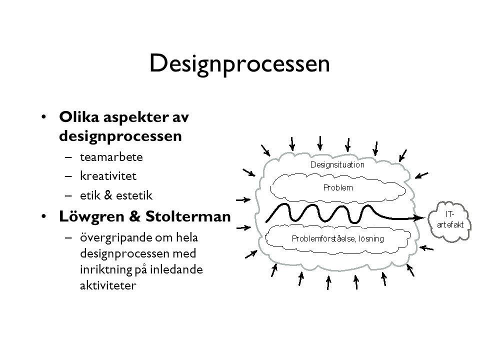Designprocessen Olika aspekter av designprocessen –teamarbete –kreativitet –etik & estetik Löwgren & Stolterman –övergripande om hela designprocessen med inriktning på inledande aktiviteter