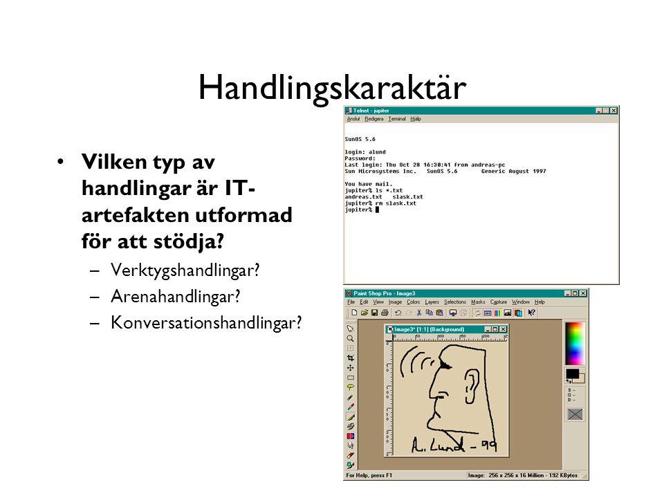 Handlingskaraktär Vilken typ av handlingar är IT- artefakten utformad för att stödja.