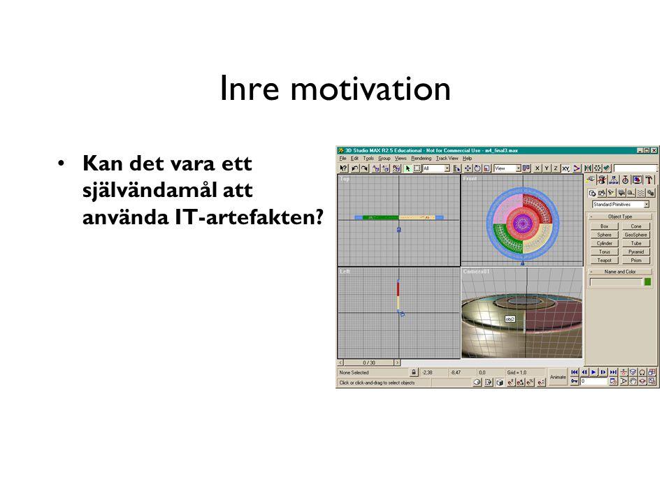 Inre motivation Kan det vara ett självändamål att använda IT-artefakten