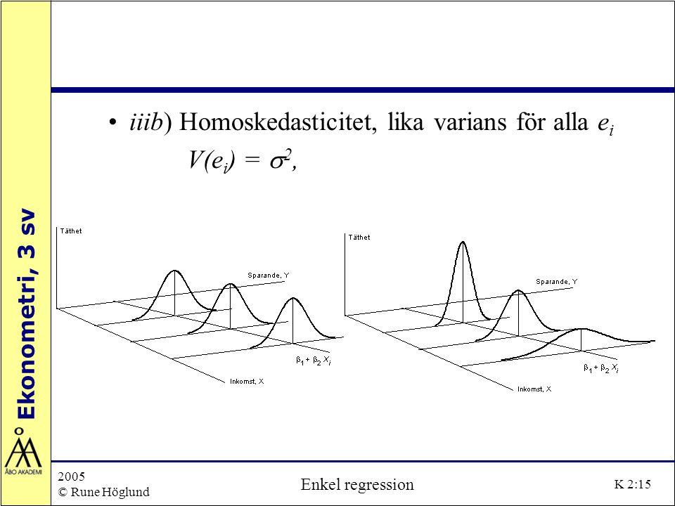 Ekonometri, 3 sv 2005 © Rune Höglund Enkel regression K 2:15 iiib) Homoskedasticitet, lika varians för alla e i V(e i ) =  2,
