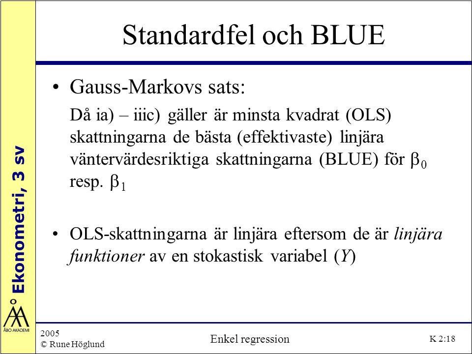 Ekonometri, 3 sv 2005 © Rune Höglund Enkel regression K 2:18 Standardfel och BLUE Gauss-Markovs sats: Då ia) – iiic) gäller är minsta kvadrat (OLS) sk