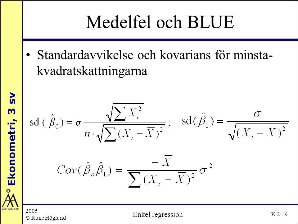 Ekonometri, 3 sv 2005 © Rune Höglund Enkel regression K 2:19 Medelfel och BLUE Standardavvikelse och kovarians för minsta- kvadratskattningarna