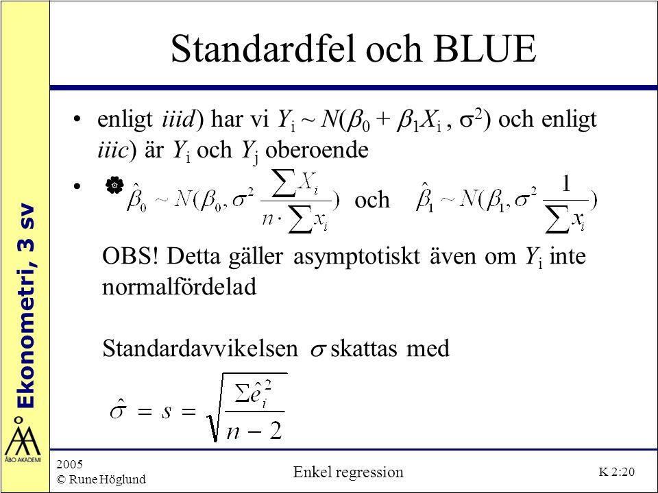 Ekonometri, 3 sv 2005 © Rune Höglund Enkel regression K 2:20 Standardfel och BLUE enligt iiid) har vi Y i ~ N(  0 +  1 X i,  2 ) och enligt iiic) ä