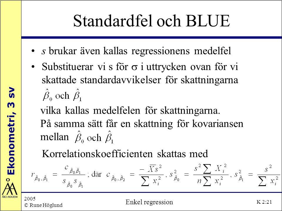 Ekonometri, 3 sv 2005 © Rune Höglund Enkel regression K 2:21 Standardfel och BLUE s brukar även kallas regressionens medelfel Substituerar vi s för 