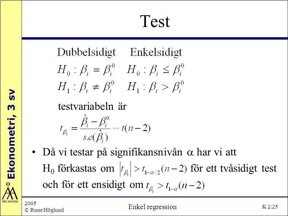 Ekonometri, 3 sv 2005 © Rune Höglund Enkel regression K 2:25 Test Då vi testar på signifikansnivån  har vi att H 0 förkastas om för ett tvåsidigt tes