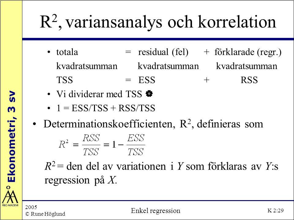 Ekonometri, 3 sv 2005 © Rune Höglund Enkel regression K 2:29 R 2, variansanalys och korrelation totala = residual (fel)+ förklarade (regr.) kvadratsum