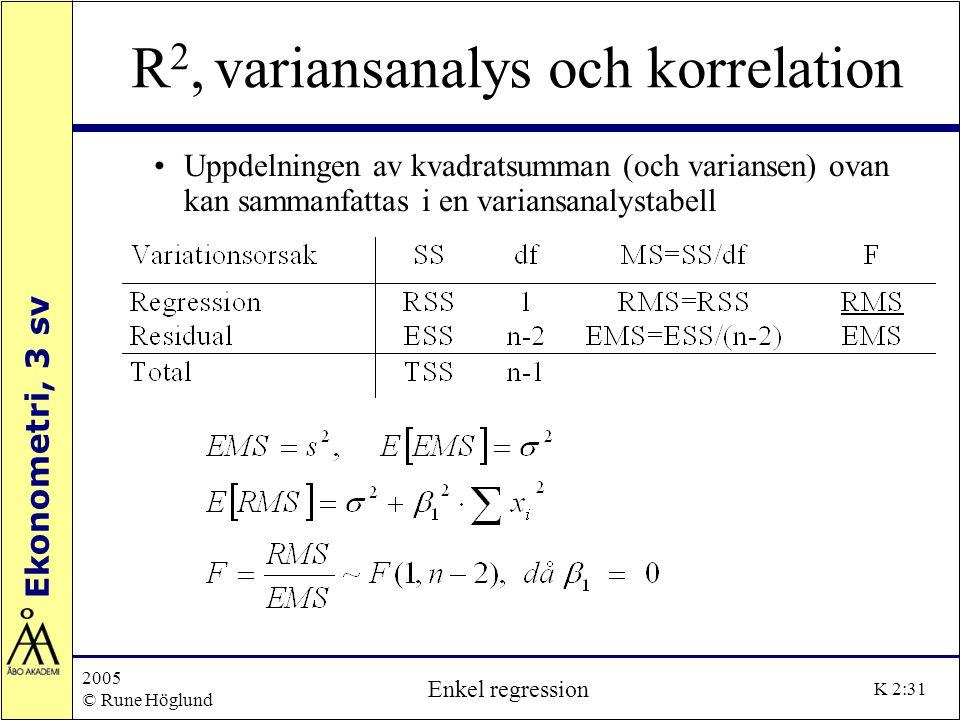 Ekonometri, 3 sv 2005 © Rune Höglund Enkel regression K 2:31 R 2, variansanalys och korrelation Uppdelningen av kvadratsumman (och variansen) ovan kan