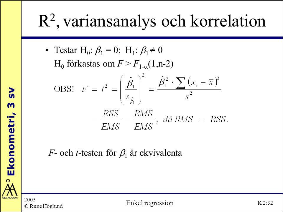 Ekonometri, 3 sv 2005 © Rune Höglund Enkel regression K 2:32 R 2, variansanalys och korrelation Testar H 0 :   = 0; H 1 :  1 0 H 0 förkastas om F >