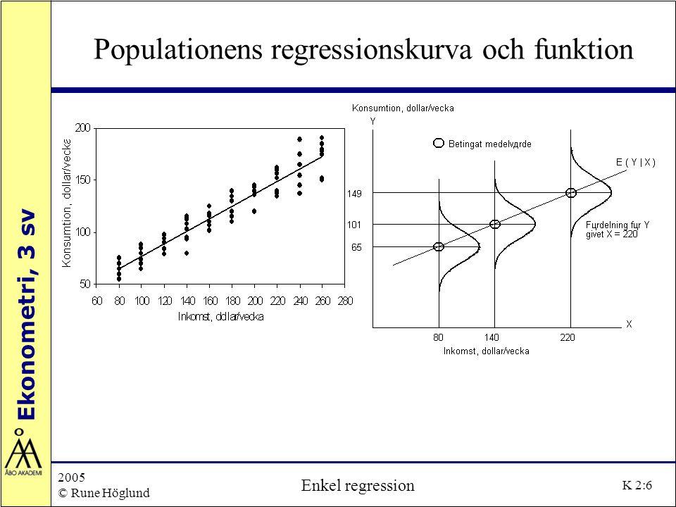Ekonometri, 3 sv 2005 © Rune Höglund Enkel regression K 2:27 R 2, variansanalys och korrelation Anpassningsgraden residualerna anger hur bra regressionslinjen anpassas till observationerna| liten spridning | 'små' residualer | 'bra' anpassning, eller en stor del av variationen i Y förklaras med regressions-linjen stor spridning | 'stora' residualer | 'dålig' anpassning, eller endast en liten del av variationen i Y förklaras med regressionslinjen och en stor del blir oförklarad residualernas värde (storlek) beror på mätenhet residualvariansen är