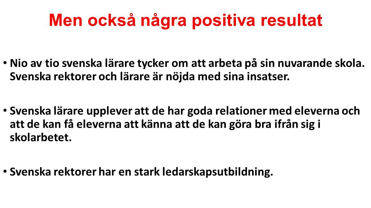 Men också några positiva resultat Nio av tio svenska lärare tycker om att arbeta på sin nuvarande skola.