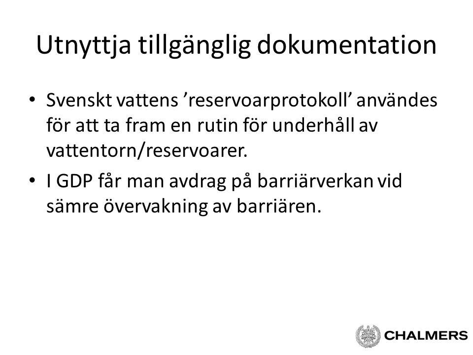 Utnyttja tillgänglig dokumentation Svenskt vattens 'reservoarprotokoll' användes för att ta fram en rutin för underhåll av vattentorn/reservoarer. I G