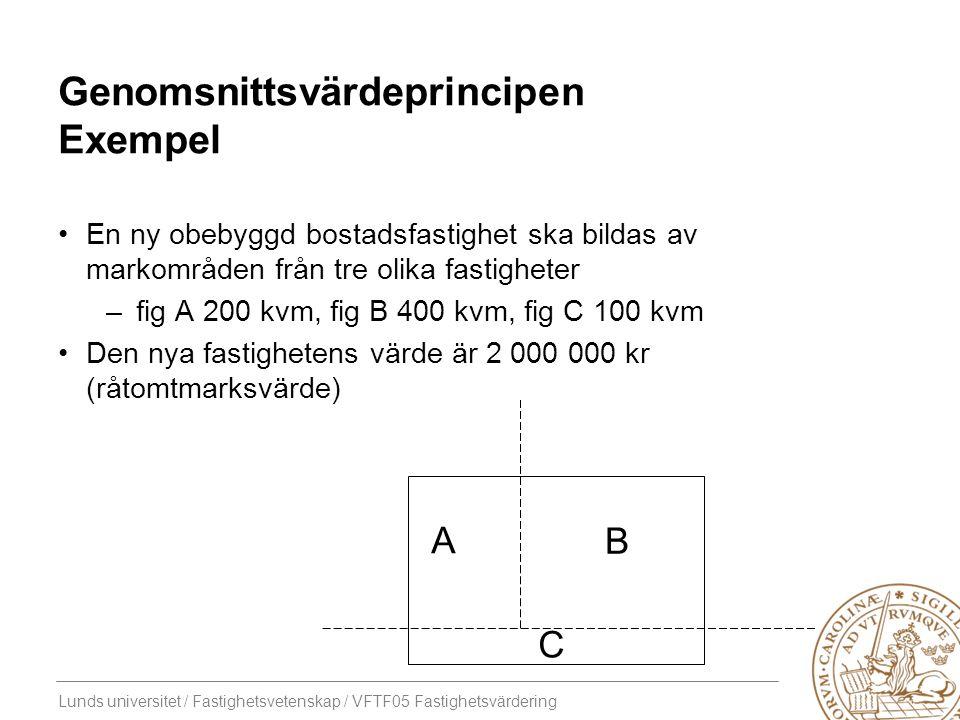 Lunds universitet / Fastighetsvetenskap / VFTF05 Fastighetsvärdering Genomsnittsvärdeprincipen Exempel En ny obebyggd bostadsfastighet ska bildas av m