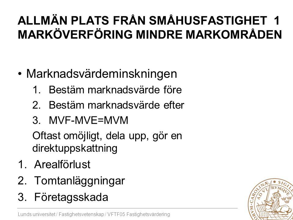 Lunds universitet / Fastighetsvetenskap / VFTF05 Fastighetsvärdering ALLMÄN PLATS FRÅN SMÅHUSFASTIGHET 1 MARKÖVERFÖRING MINDRE MARKOMRÅDEN Marknadsvär