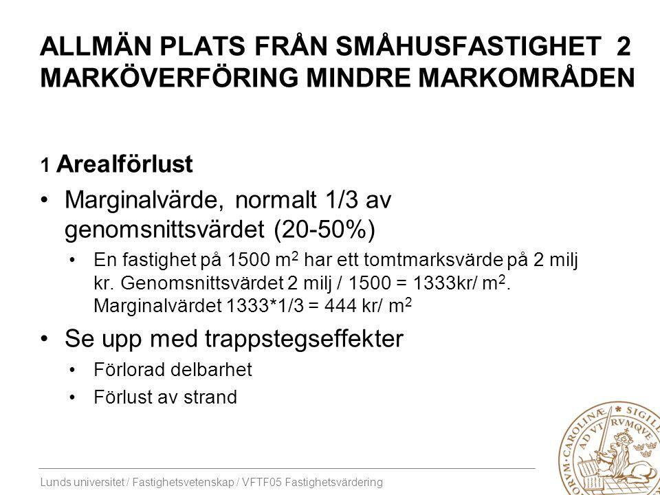 Lunds universitet / Fastighetsvetenskap / VFTF05 Fastighetsvärdering ALLMÄN PLATS FRÅN SMÅHUSFASTIGHET 2 MARKÖVERFÖRING MINDRE MARKOMRÅDEN 1 Arealförl