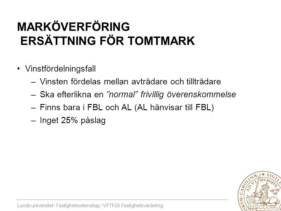 Lunds universitet / Fastighetsvetenskap / VFTF05 Fastighetsvärdering MARKÖVERFÖRING ERSÄTTNING FÖR TOMTMARK Vinstfördelningsfall –Vinsten fördelas mel