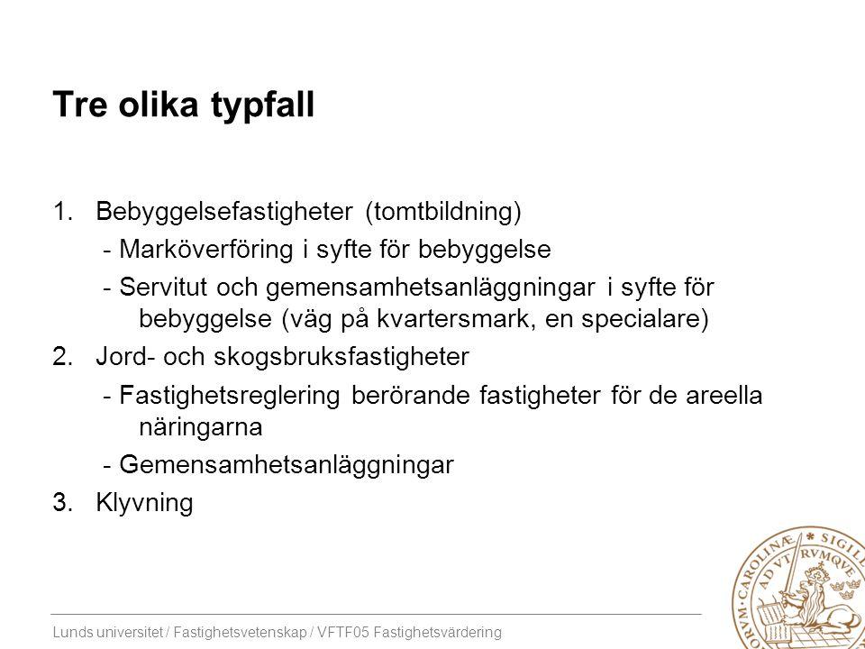 Lunds universitet / Fastighetsvetenskap / VFTF05 Fastighetsvärdering Tre olika typfall 1.Bebyggelsefastigheter (tomtbildning) - Marköverföring i syfte