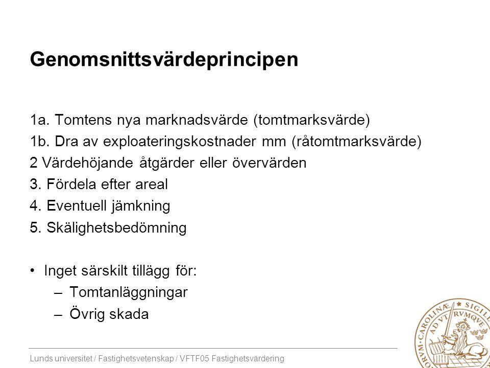 Lunds universitet / Fastighetsvetenskap / VFTF05 Fastighetsvärdering Genomsnittsvärdeprincipen Exempel En ny obebyggd bostadsfastighet ska bildas av markområden från tre olika fastigheter –fig A 200 kvm, fig B 400 kvm, fig C 100 kvm Den nya fastighetens värde är 2 000 000 kr (råtomtmarksvärde) A C B
