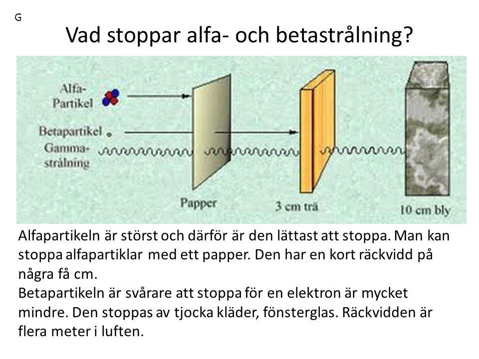 Vad stoppar alfa- och betastrålning? Alfapartikeln är störst och därför är den lättast att stoppa. Man kan stoppa alfapartiklar med ett papper. Den ha