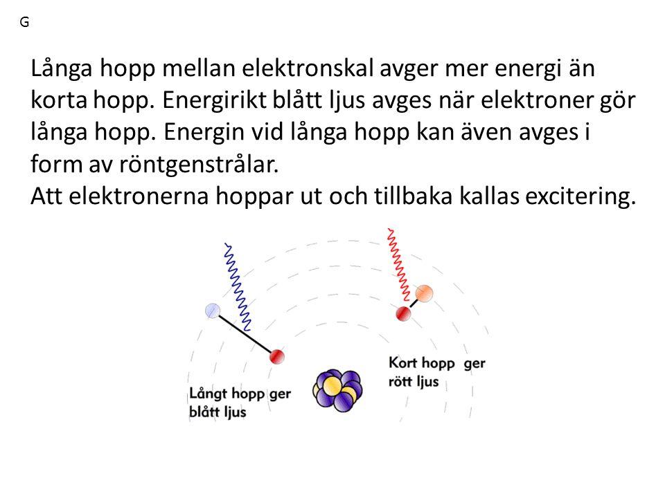 Långa hopp mellan elektronskal avger mer energi än korta hopp. Energirikt blått ljus avges när elektroner gör långa hopp. Energin vid långa hopp kan ä