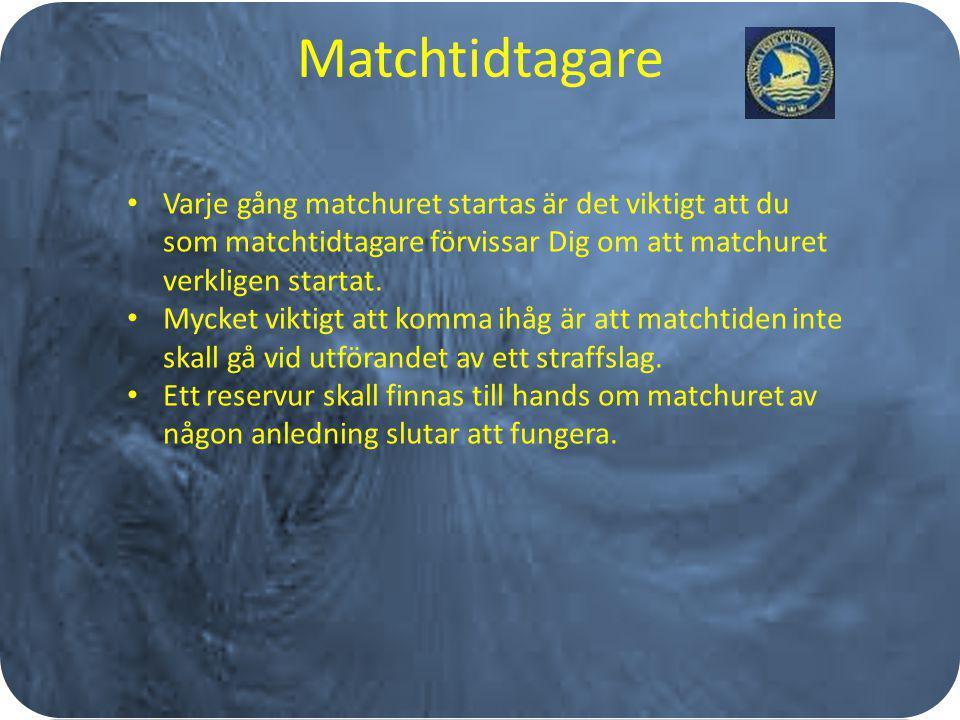 Matchtidtagare Varje gång matchuret startas är det viktigt att du som matchtidtagare förvissar Dig om att matchuret verkligen startat. Mycket viktigt