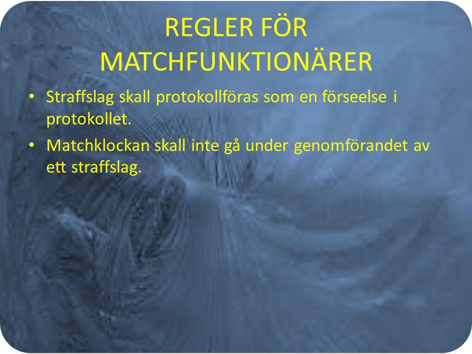 REGLER FÖR MATCHFUNKTIONÄRER Straffslag skall protokollföras som en förseelse i protokollet. Matchklockan skall inte gå under genomförandet av ett str