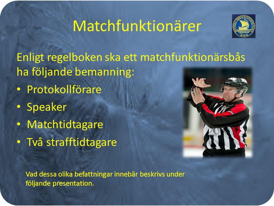 Matchfunktionärer Enligt regelboken ska ett matchfunktionärsbås ha följande bemanning: Protokollförare Speaker Matchtidtagare Två strafftidtagare Vad