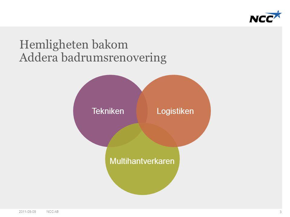 Title and content Hemligheten bakom Addera badrumsrenovering 2011-09-09NCC AB 3 Tekniken Multihantverkaren Logistiken