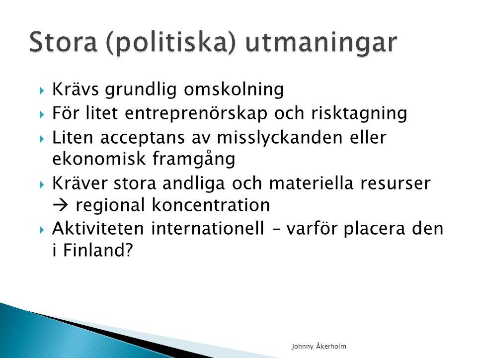  Krävs grundlig omskolning  För litet entreprenörskap och risktagning  Liten acceptans av misslyckanden eller ekonomisk framgång  Kräver stora andliga och materiella resurser  regional koncentration  Aktiviteten internationell – varför placera den i Finland.
