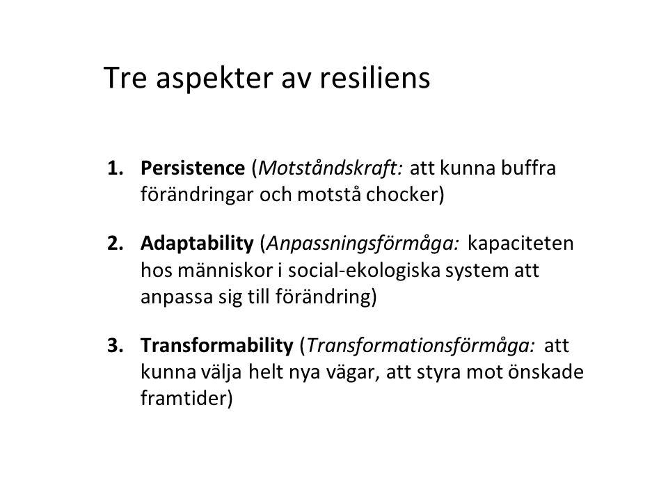 1.Persistence (Motståndskraft: att kunna buffra förändringar och motstå chocker) 2.Adaptability (Anpassningsförmåga: kapaciteten hos människor i socia