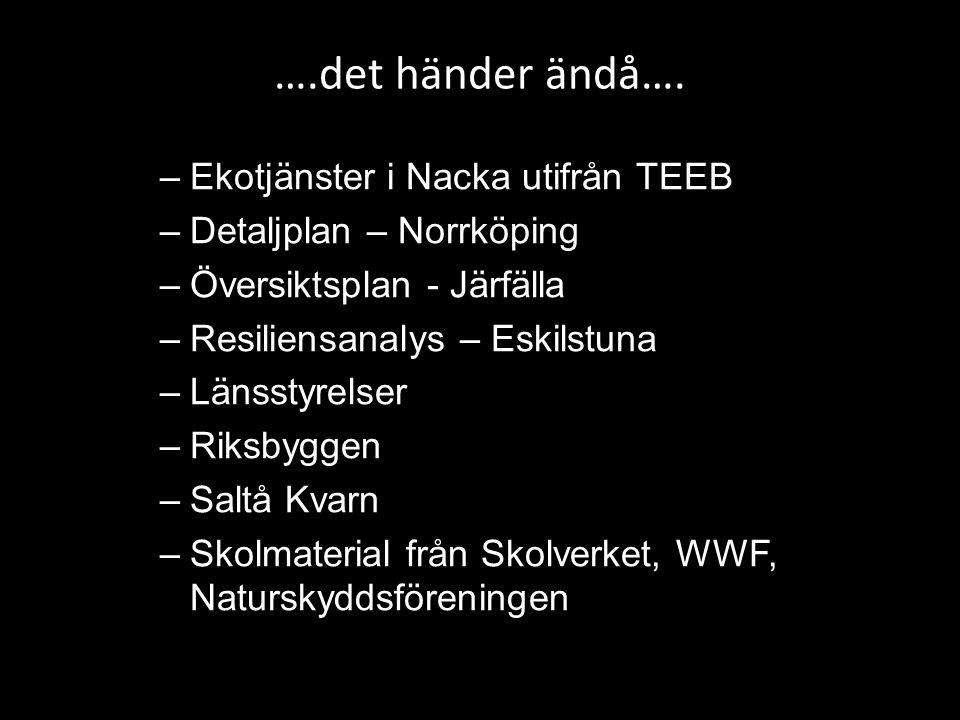 ….det händer ändå…. –Ekotjänster i Nacka utifrån TEEB –Detaljplan – Norrköping –Översiktsplan - Järfälla –Resiliensanalys – Eskilstuna –Länsstyrelser
