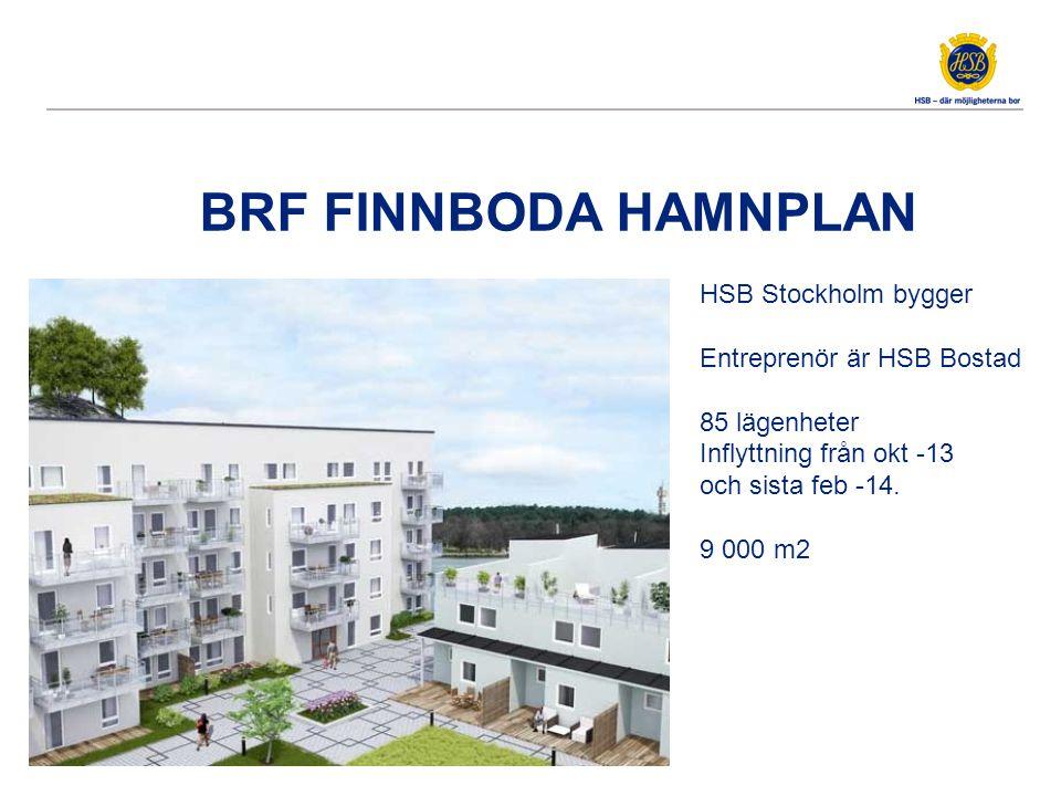 BRF FINNBODA HAMNPLAN HSB Stockholm bygger Entreprenör är HSB Bostad 85 lägenheter Inflyttning från okt -13 och sista feb -14.