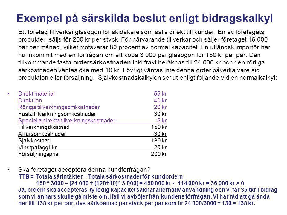 Produktvalsproblem med grafisk optimering Fall 0: Ursprungsproblem Max TTB = 160 A + 180 B 8 A + 6 B 0 Fall 1 Max TTB = 160 A + 180 B 6 A + 6 B < 2 400 min (Avd I) 4 A + 6 B < 2 400 min (Avd II) 0 < A < 350 0 < B < 250 Fall 2 Max TTB = 220 A + 180 B 6 A + 6 B < 2 400 min (Avd I) 4 A + 6 B < 2 400 min (Avd II) 0 < A < 350 0 < B < 250