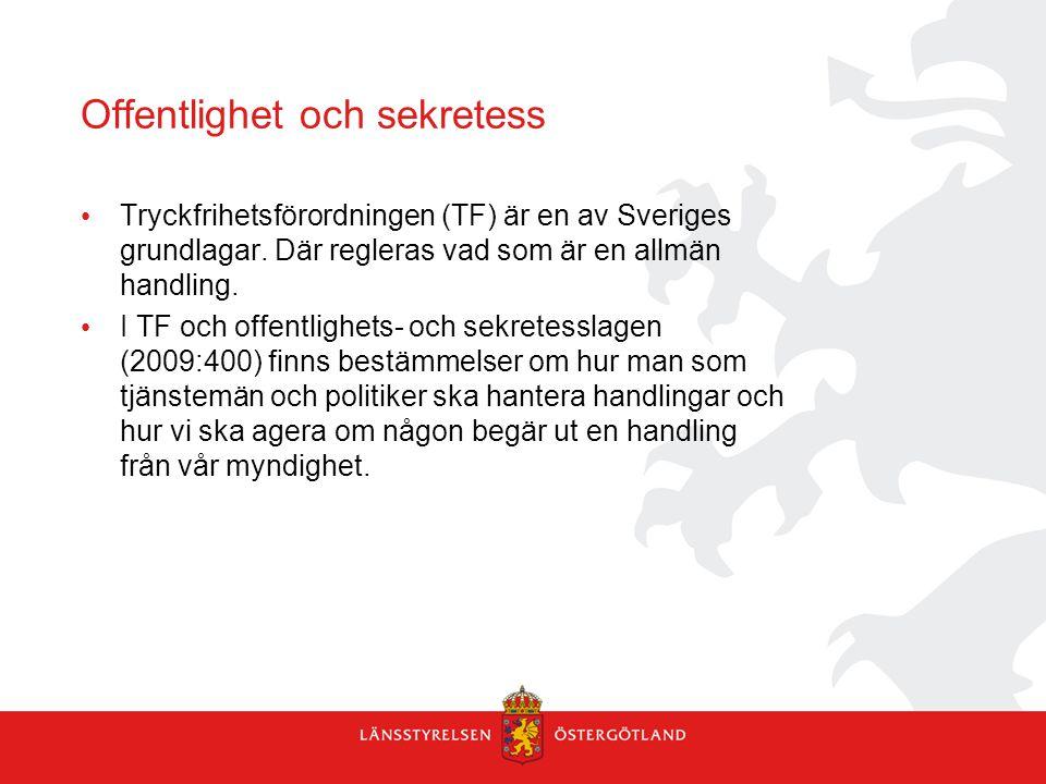 Tryckfrihetsförordningen (TF) är en av Sveriges grundlagar. Där regleras vad som är en allmän handling. I TF och offentlighets- och sekretesslagen (20