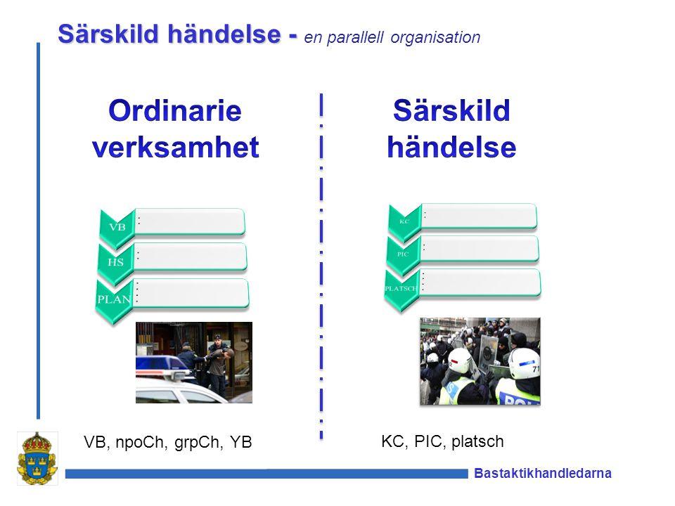 Bastaktikhandledarna Särskild händelse - Särskild händelse - en parallell organisation VB, npoCh, grpCh, YB KC, PIC, platsch