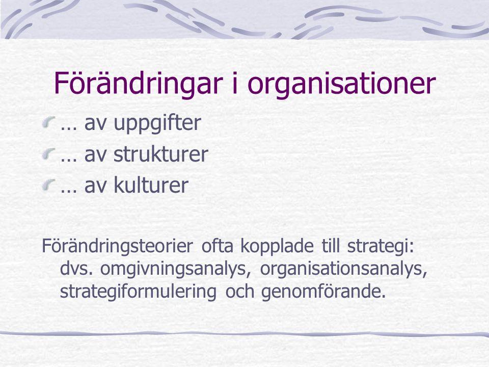 Förändringar i organisationer … av uppgifter … av strukturer … av kulturer Förändringsteorier ofta kopplade till strategi: dvs. omgivningsanalys, orga