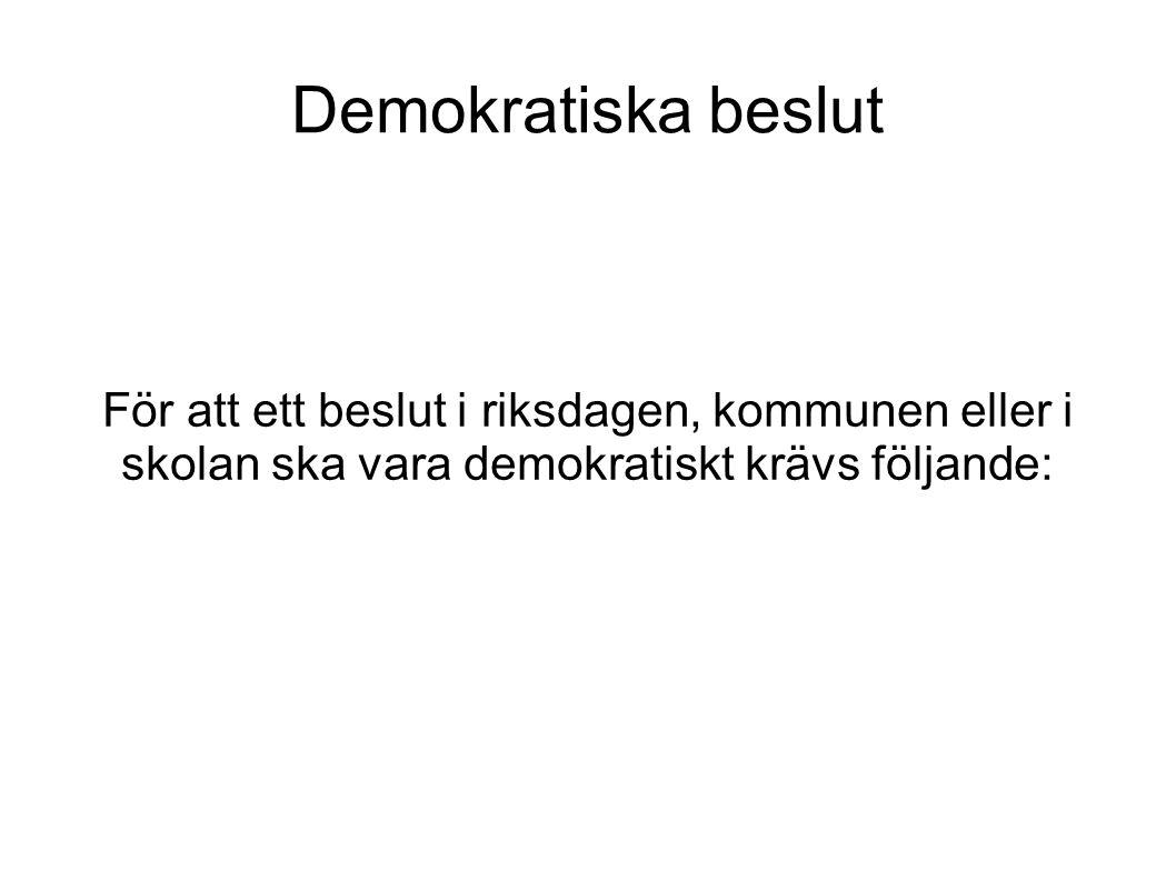 Demokratiska beslut För att ett beslut i riksdagen, kommunen eller i skolan ska vara demokratiskt krävs följande: