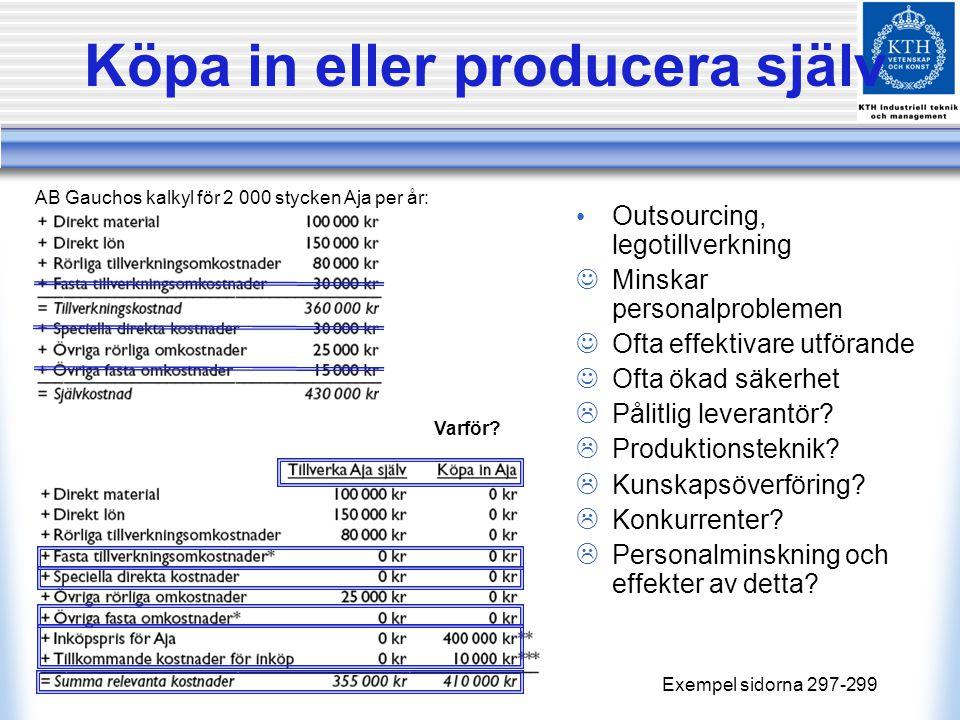 Exempel sidorna 297-299 AB Gauchos kalkyl för 2 000 stycken Aja per år: Outsourcing, legotillverkning Minskar personalproblemen Ofta effektivare utför