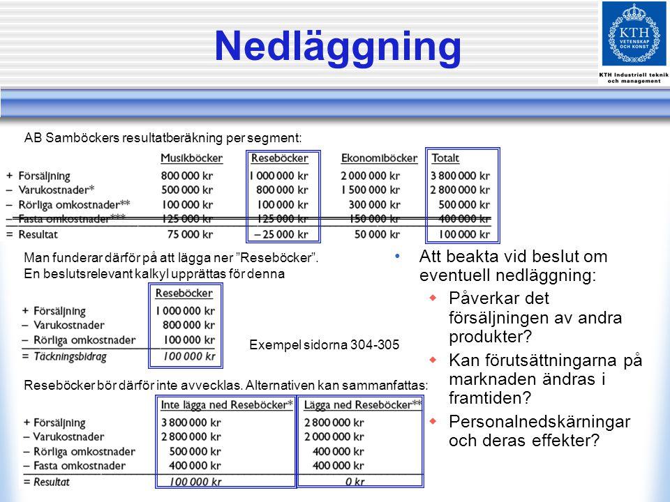 Nedläggning Exempel sidorna 304-305 AB Samböckers resultatberäkning per segment: Att beakta vid beslut om eventuell nedläggning:  Påverkar det försäl