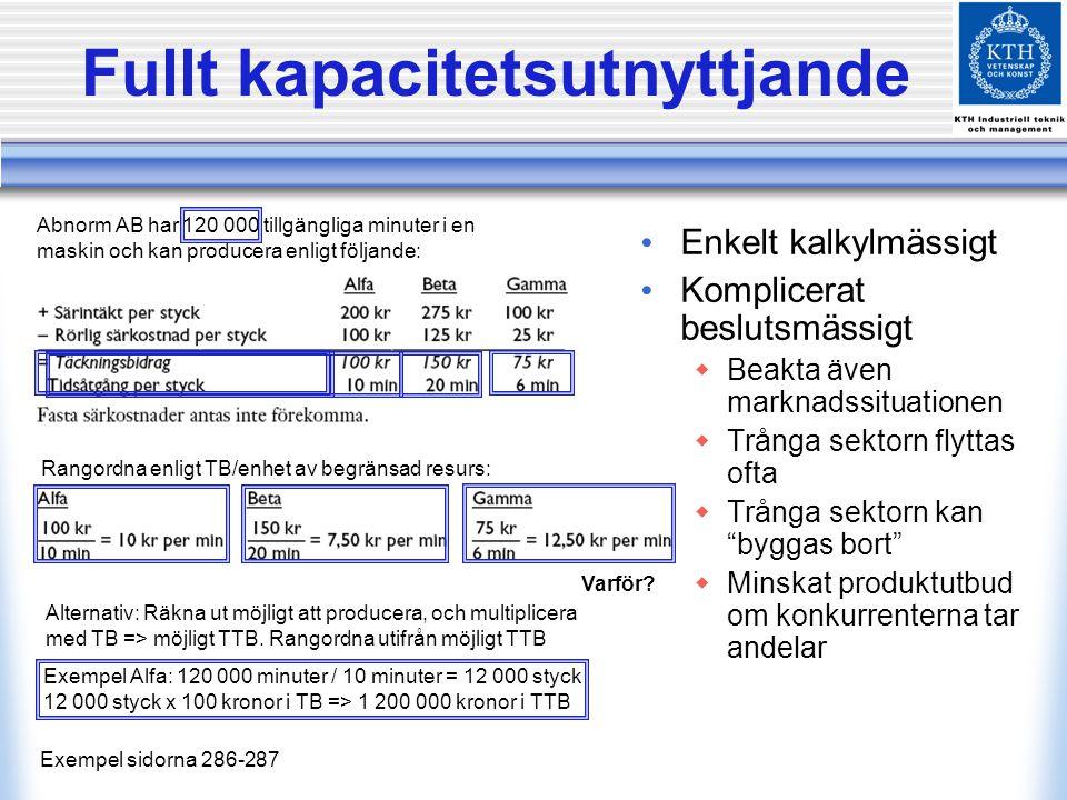 … med begränsad marknad Exempel sidorna 288-289 Samma exempel som förra, men nu kan man sälja högst 6 000 Alfa, 5 000 Beta och 5 000 Gamma Varför.
