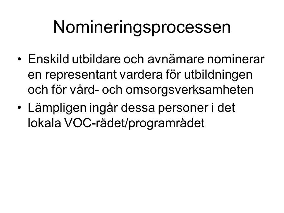 Nomineringsprocessen Enskild utbildare och avnämare nominerar en representant vardera för utbildningen och för vård- och omsorgsverksamheten Lämpligen