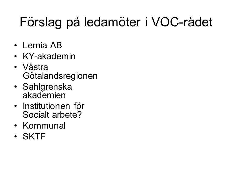 Förslag på ledamöter i VOC-rådet Lernia AB KY-akademin Västra Götalandsregionen Sahlgrenska akademien Institutionen för Socialt arbete? Kommunal SKTF