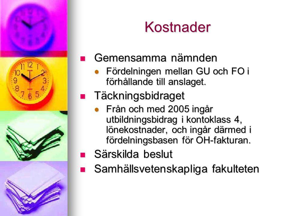 Kostnader Gemensamma nämnden Gemensamma nämnden Fördelningen mellan GU och FO i förhållande till anslaget.