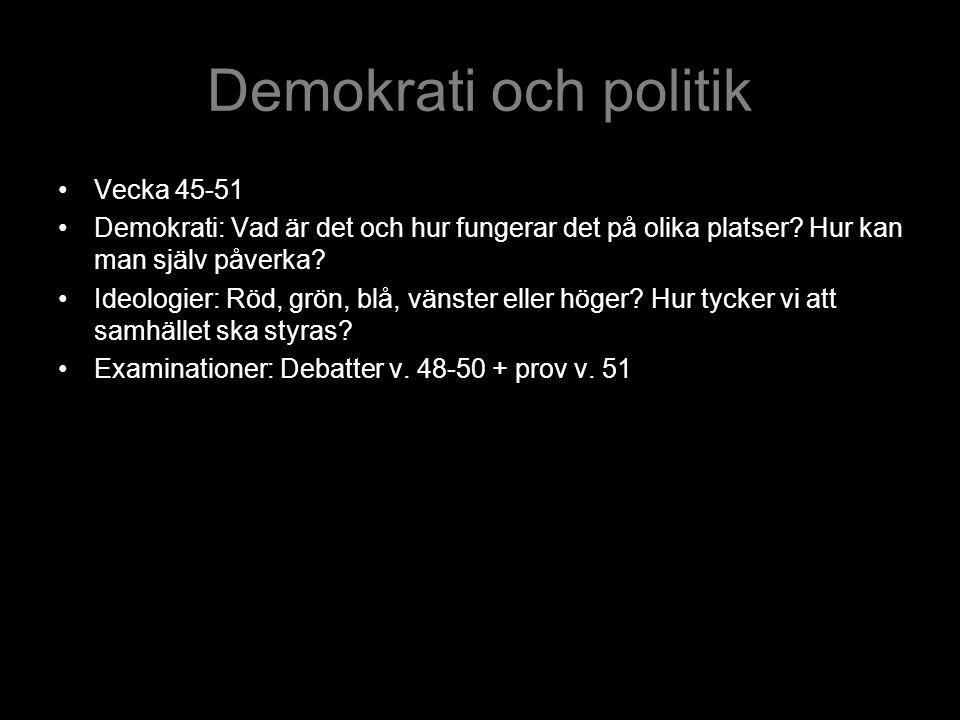 Demokrati och politik Vecka 45-51 Demokrati: Vad är det och hur fungerar det på olika platser? Hur kan man själv påverka? Ideologier: Röd, grön, blå,