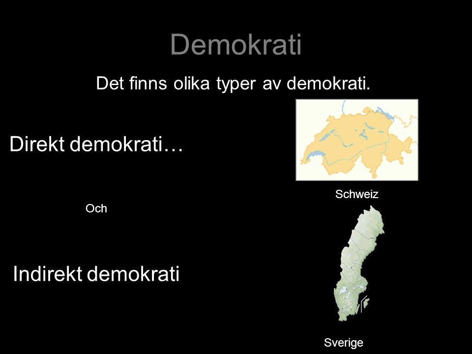 Demokrati Det finns olika typer av demokrati. Direkt demokrati… Och Indirekt demokrati Schweiz Sverige