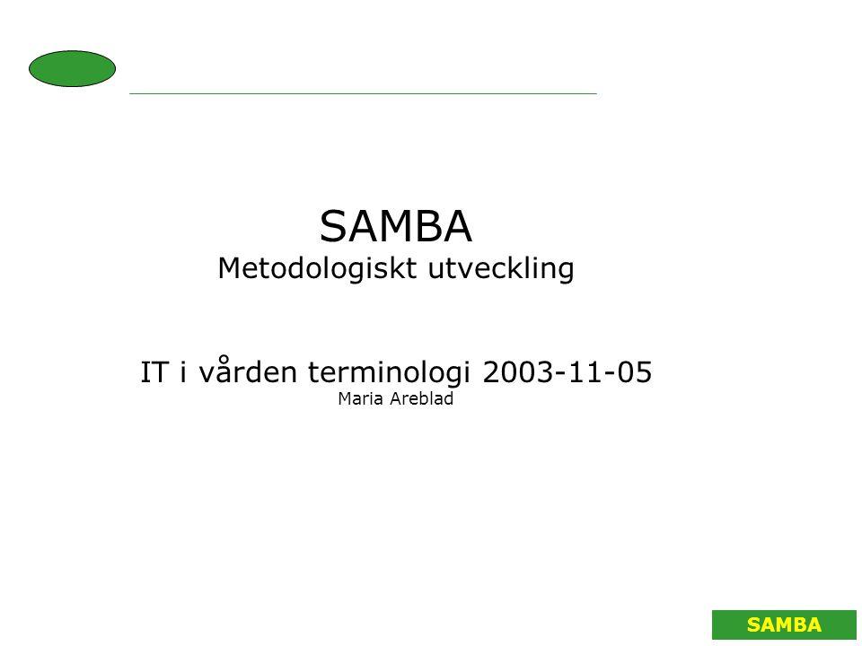 SAMBA Metodologiskt utveckling IT i vården terminologi 2003-11-05 Maria Areblad